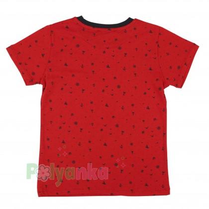 Wanex Футболка для мальчиков красная с мелким принтом - Картинка 2