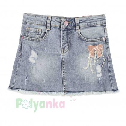 Wanex Юбка джинсовая для девочек с бантом - Картинка 1