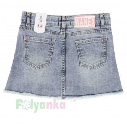 Wanex Юбка джинсовая для девочек с бантом - Картинка 2