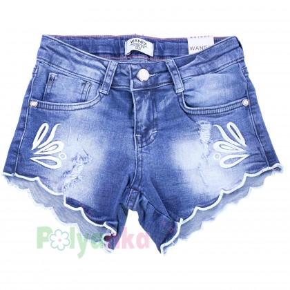 Wanex Шорты джинсовые для девочки синие с вышивкой - Картинка 1