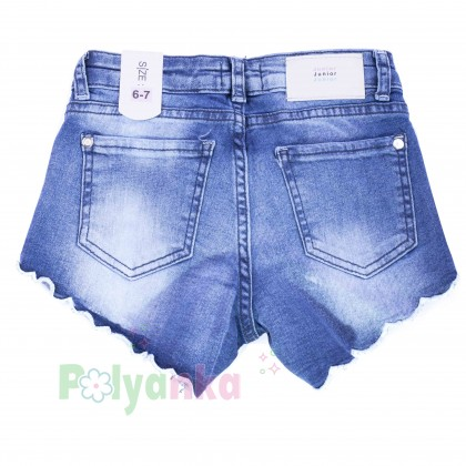 Wanex Шорты джинсовые для девочки синие с вышивкой - Картинка 2