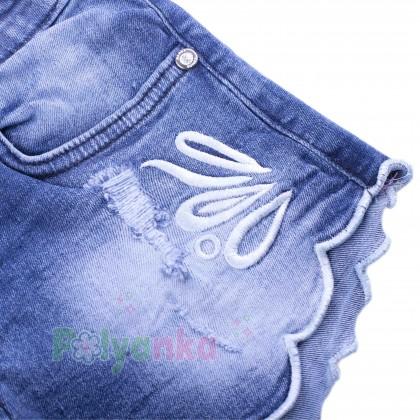 Wanex Шорты джинсовые для девочки синие с вышивкой - Картинка 3