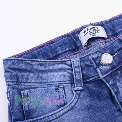 Wanex Шорты джинсовые для девочки синие с вышивкой - Картинка 4