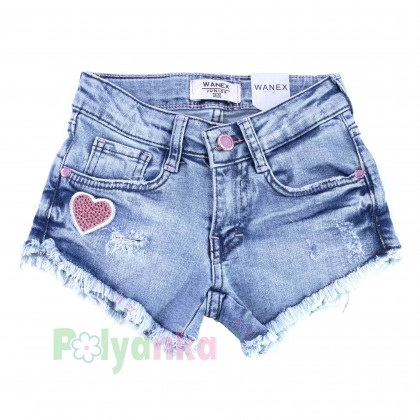 Wanex Шорты джинсовые для девочки голубые с сердечками - Картинка 1