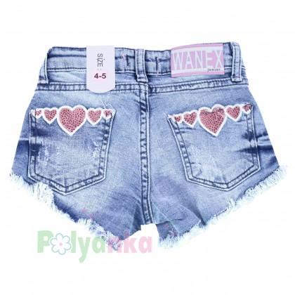 Wanex Шорты джинсовые для девочки голубые с сердечками - Картинка 2