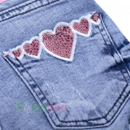 Wanex Шорты джинсовые для девочки голубые с сердечками - Картинка 3