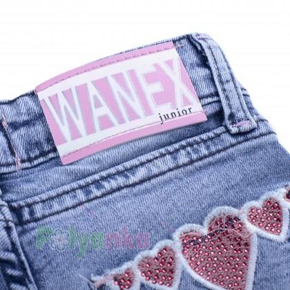 Wanex Шорты джинсовые для девочки голубые с сердечками - Картинка 4
