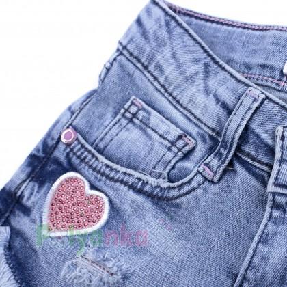 Wanex Шорты джинсовые для девочки голубые с сердечками - Картинка 6