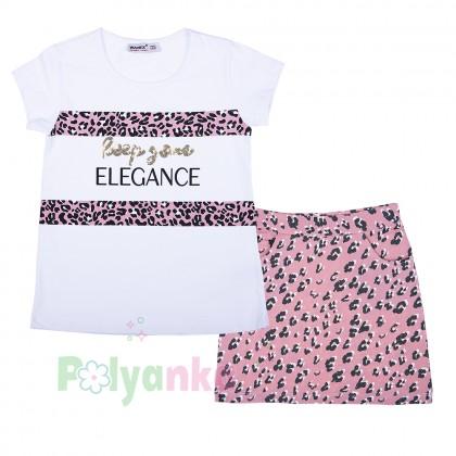 """Wanex Комплект для девочки """"Reep your elegance"""" розовая юбка и белая футболка - Картинка 1"""