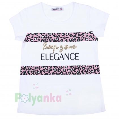 """Wanex Комплект для девочки """"Reep your elegance"""" розовая юбка и белая футболка - Картинка 2"""