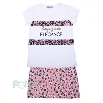 """Wanex Комплект для девочки """"Reep your elegance"""" розовая юбка и белая футболка - Картинка 5"""