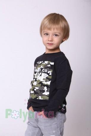 Wanex Футболка с длинным рукавом для мальчика серая с принтом милитари - Картинка 2