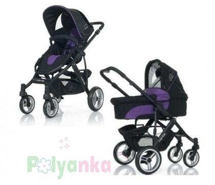 """ABC design Коляска 2 в 1 """"MAMBA"""", Purple-black, чёрный+фиолетовый (61028/208) - Картинка 1"""