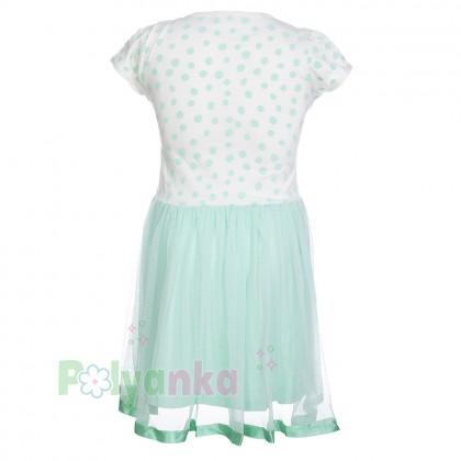 Breeze girls & boys Платье для девочки в горох с бирюзовой фатиновой  юбкой  - Картинка 2