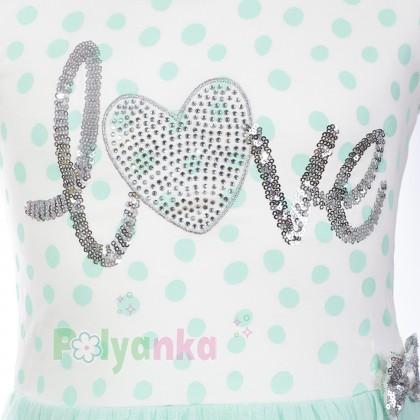 Breeze girls & boys Платье для девочки в горох с бирюзовой фатиновой  юбкой  - Картинка 3