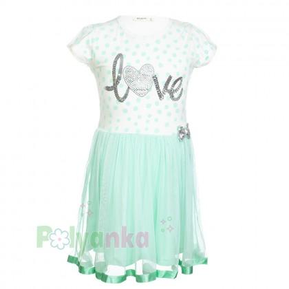 Breeze girls & boys Платье для девочки в горох с бирюзовой фатиновой  юбкой  - Картинка 1