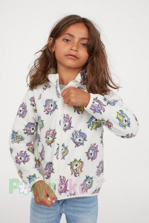 H&M Детская кофта флисовая белая с единорогами - Картинка 5