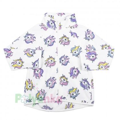 H&M Детская кофта флисовая белая с единорогами - Картинка 1