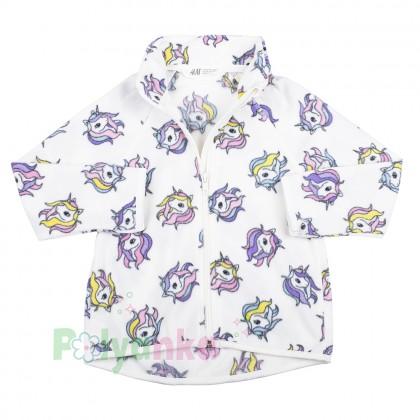 H&M Детская кофта флисовая белая с единорогами - Картинка 2