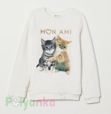 H&M Свитер меховушка для девочки молочный Mon Ami с котятами - Картинка 1