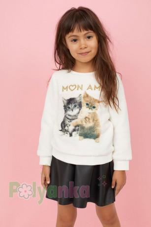 H&M Свитер меховушка для девочки молочный Mon Ami с котятами - Картинка 2