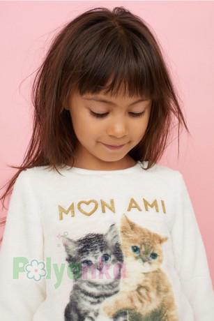 H&M Свитер меховушка для девочки молочный Mon Ami с котятами - Картинка 3