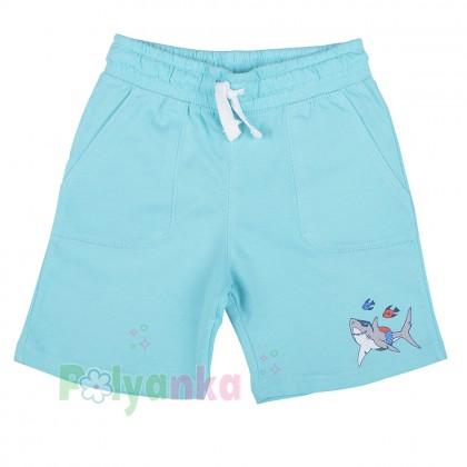 H&M Шорты для мальчика голубые с акулой и рыбками - Картинка 1