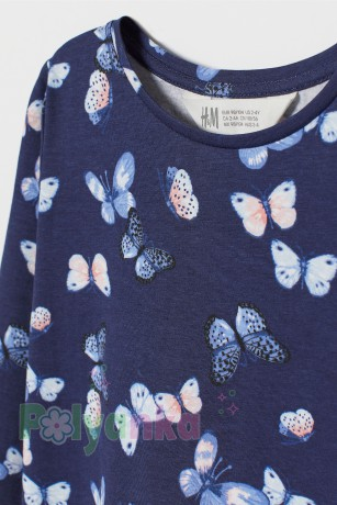 H&M Футболка с длинным рукавом для девочки синяя с бабочками - Картинка 2