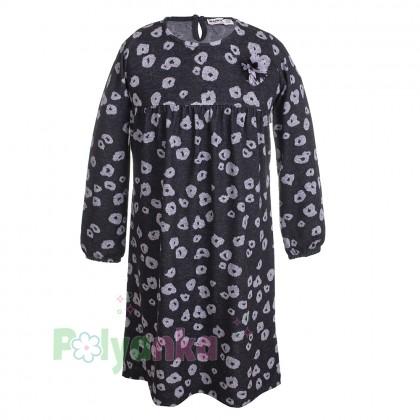 Wanex Платье с длинным рукавом для девочки серо-черное пятнистое - Картинка 1