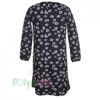 Wanex Платье с длинным рукавом для девочки серо-черное пятнистое - Картинка 2