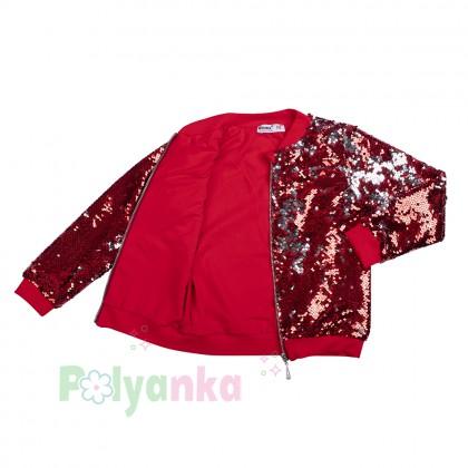 Wanex Кофта для девочек в пайетках красная на молнии - Картинка 5
