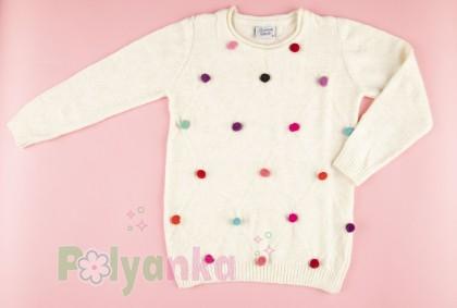 Breeze girls & boys Свитер для девочки молочный с разноцветными пампонами - Картинка 2