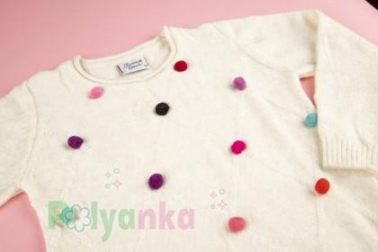 Breeze girls & boys Свитер для девочки молочный с разноцветными пампонами - Картинка 4
