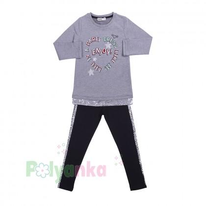 Wanex Костюм для девочки серо-чёрный со звездами и пайетками - Картинка 6