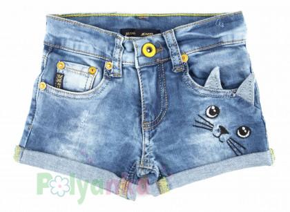 Wanex Шорты детские синие джинсовый с кошкой - Картинка 1