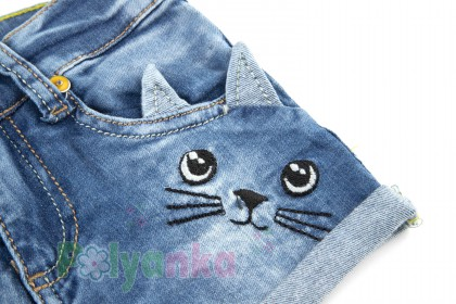 Wanex Шорты детские синие джинсовый с кошкой - Картинка 2