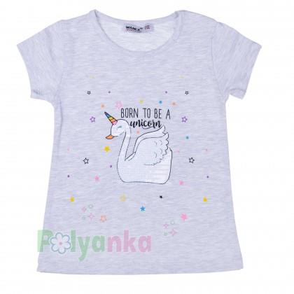 Wanex Футболка детская серая с белым лебедем единорогом - Картинка 1