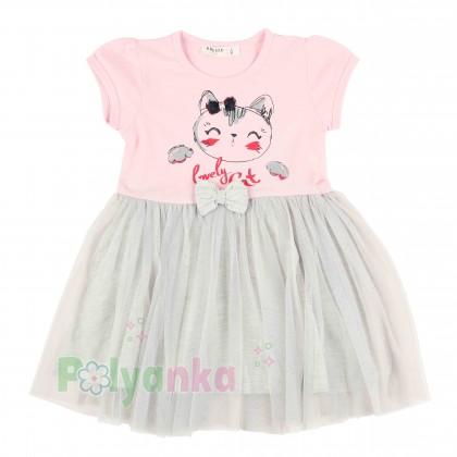Breeze girls & boys Платье детское розовое с кошечкой и серой фатиновой юбкой - Картинка 1