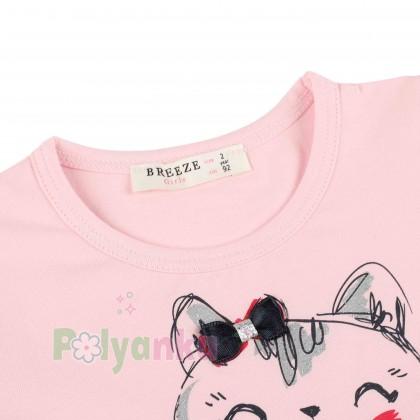 Breeze girls & boys Платье детское розовое с кошечкой и серой фатиновой юбкой - Картинка 2