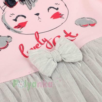 Breeze girls & boys Платье детское розовое с кошечкой и серой фатиновой юбкой - Картинка 3