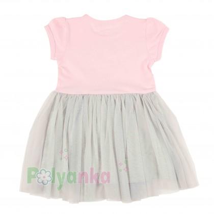 Breeze girls & boys Платье детское розовое с кошечкой и серой фатиновой юбкой - Картинка 4