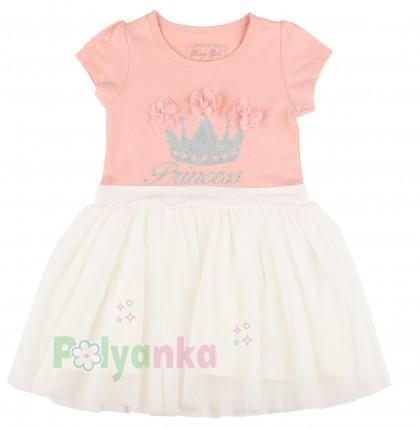 Breeze girls & boys Платье детское для девочки персиковое с белой фатиновой юбкой - Картинка 1