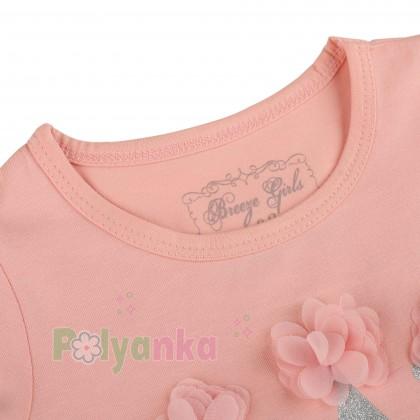 Breeze girls & boys Платье детское для девочки персиковое с белой фатиновой юбкой - Картинка 2