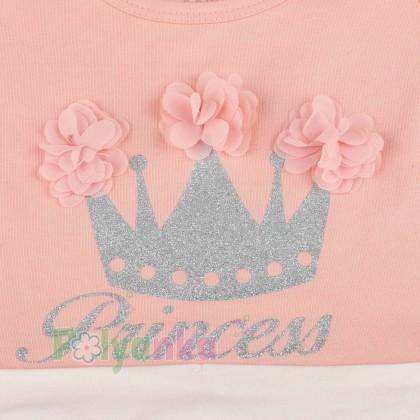 Breeze girls & boys Платье детское для девочки персиковое с белой фатиновой юбкой - Картинка 3