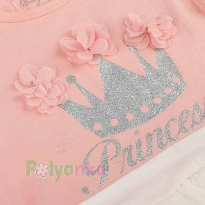 Breeze girls & boys Платье детское для девочки персиковое с белой фатиновой юбкой - Картинка 4