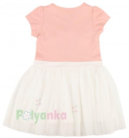 Breeze girls & boys Платье детское для девочки персиковое с белой фатиновой юбкой - Картинка 5