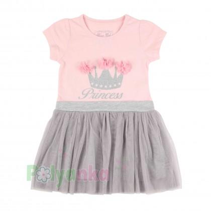 Breeze girls & boys Платье детское с короной и серой фатиновой юбкой - Картинка 1