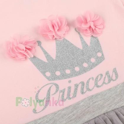 Breeze girls & boys Платье детское с короной и серой фатиновой юбкой - Картинка 4