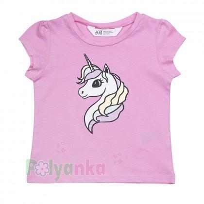 H&M Комплект детский розовая футболка с единорогом и разноцветная юбка - Картинка 2