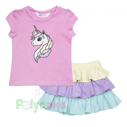 H&M Комплект детский розовая футболка с единорогом и разноцветная юбка - Картинка 1